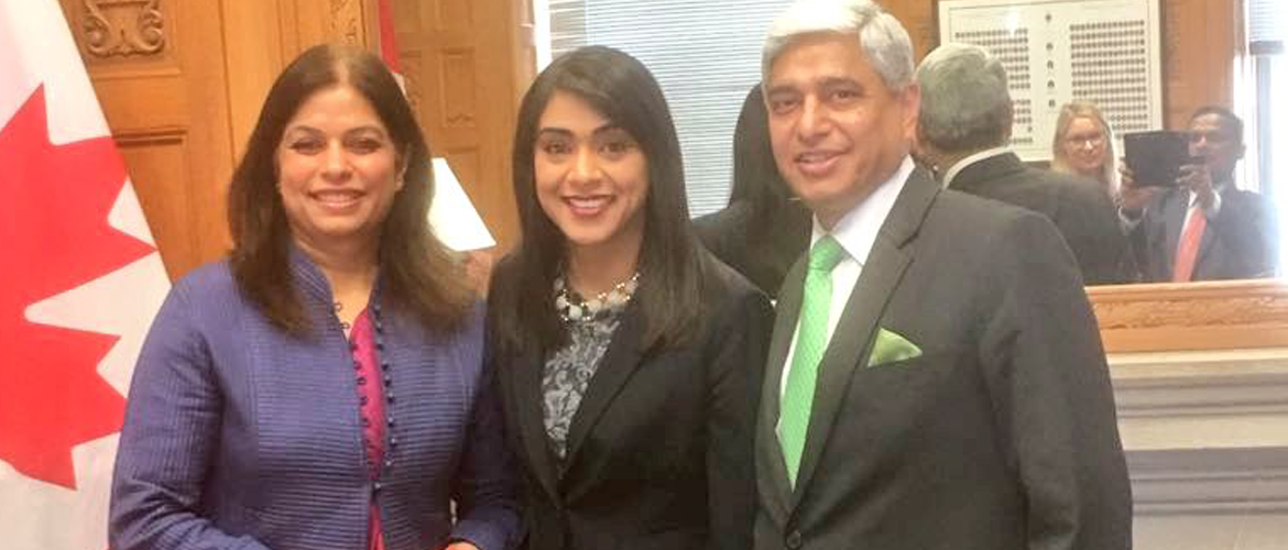 H.E. Mr. Vikas Swarup with Hon. Minister Bardish Chagger, Minister of Small Business and Tourism on March 20, 2017