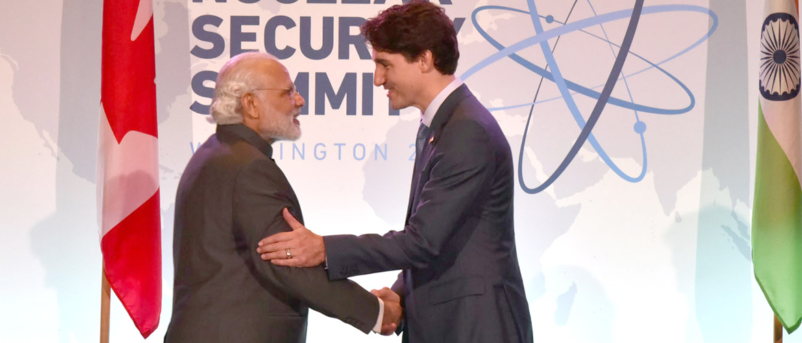 PM Mr Narendra Modi with Canadian PM Mr Justin Trudeau at Nuclear Security Summit 2016, Washington